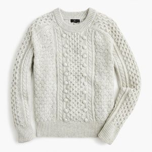 J. crew popcorn cable knit sweater NWT gray large